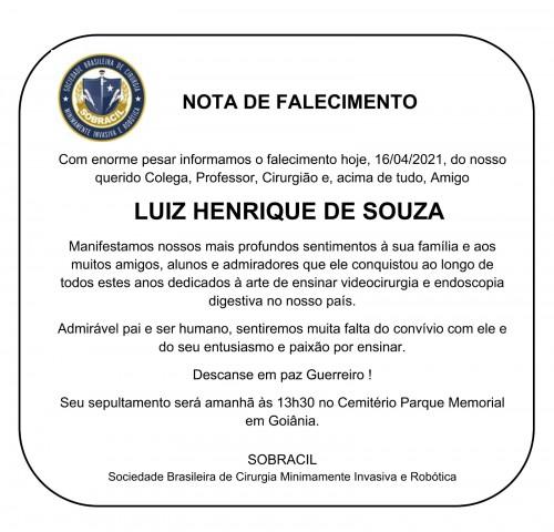 Nota de falecimento - Luiz Henrique de Souza