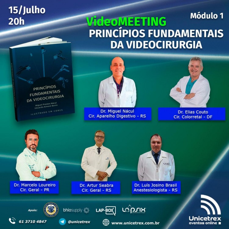Lives da UNICETREX divulgam projeto livro princípios básicos da videocirurgia